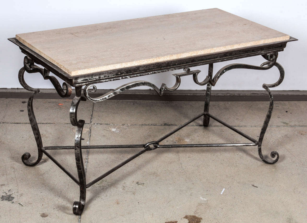 Hand Polished Wrought Iron Coffee Table With Original Travertine Top In The Style Of Gilbert Poillerat