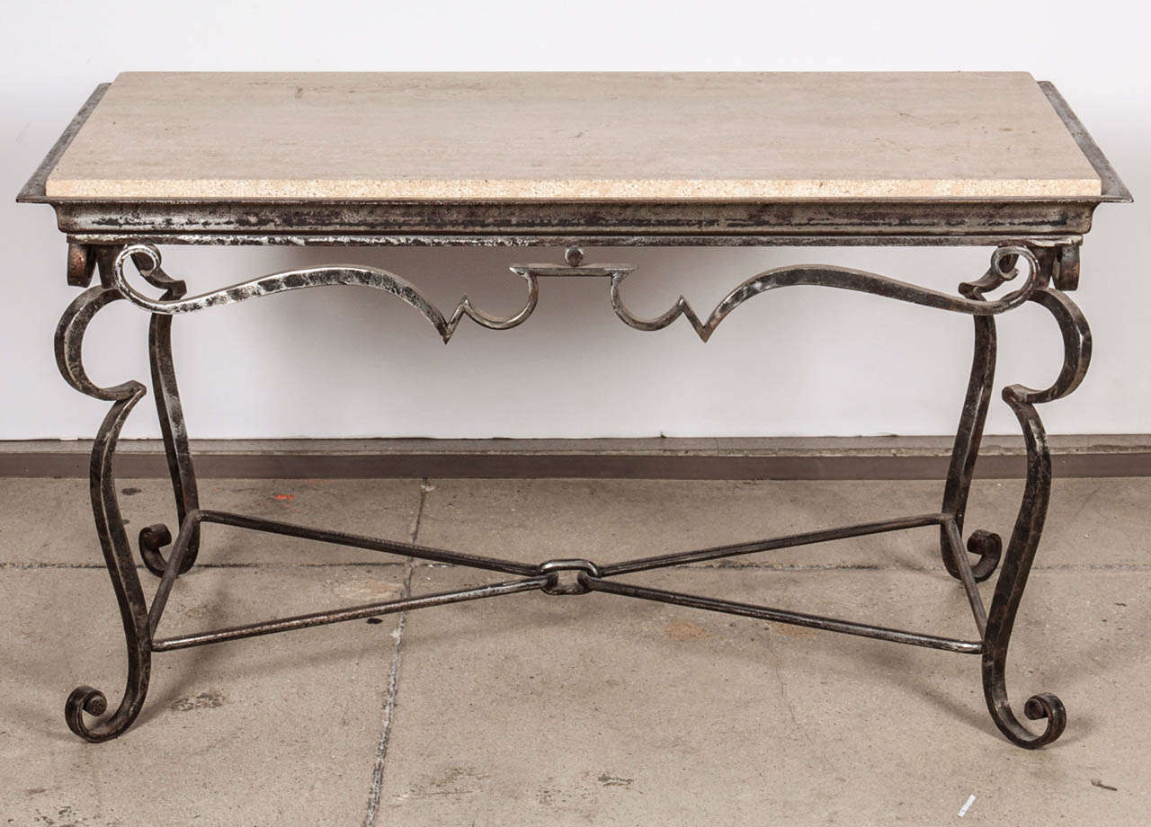 Iron Coffee Table With Travertine Marble Top For Sale At