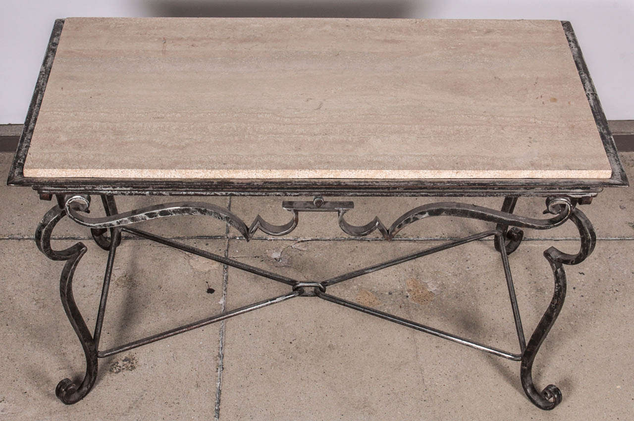 Iron coffee table with travertine marble top for sale at for Stone and iron coffee table