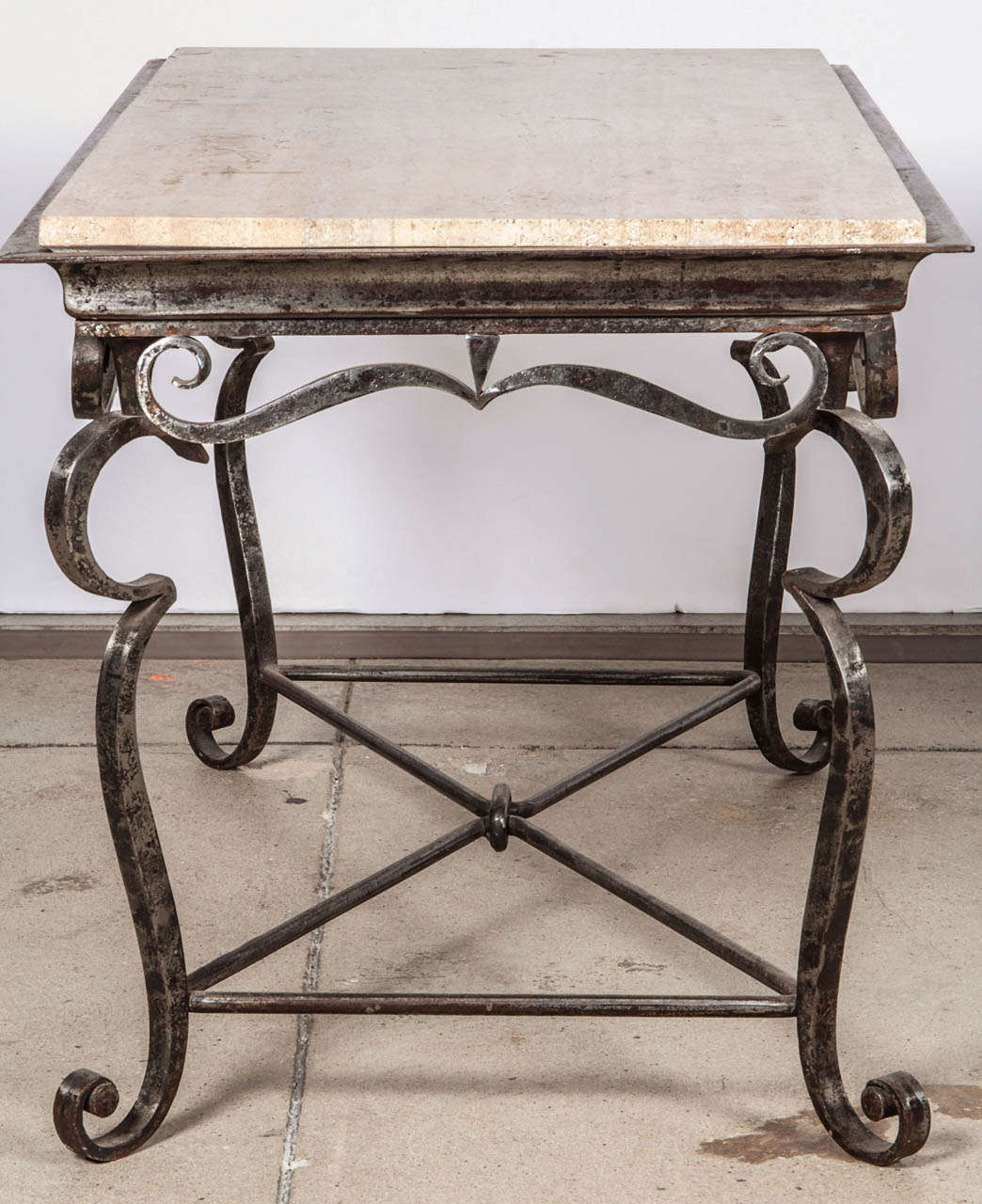 Iron Marble Top Coffee Table: Iron Coffee Table With Travertine Marble Top At 1stdibs