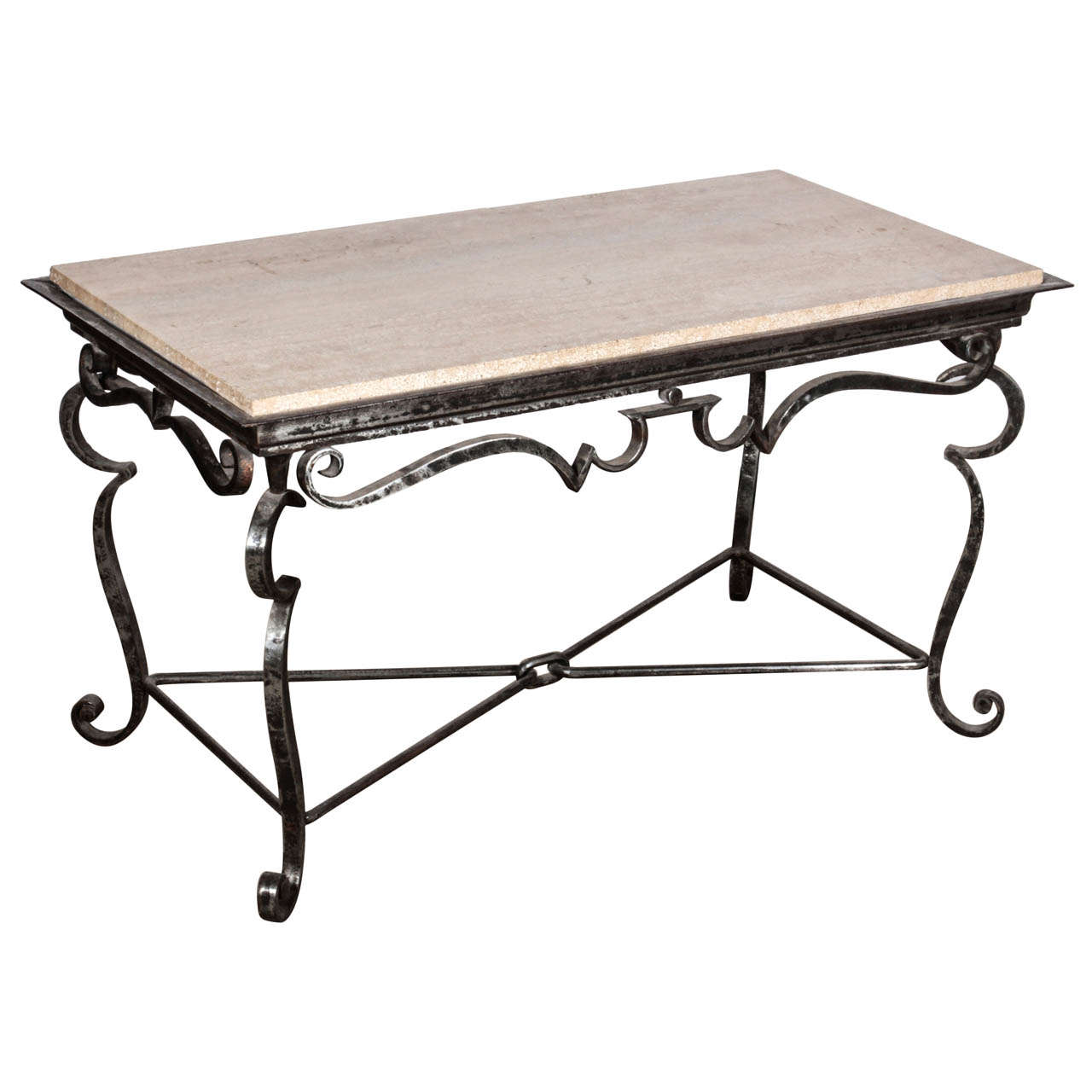 French iron coffee table with travertine marble top for sale