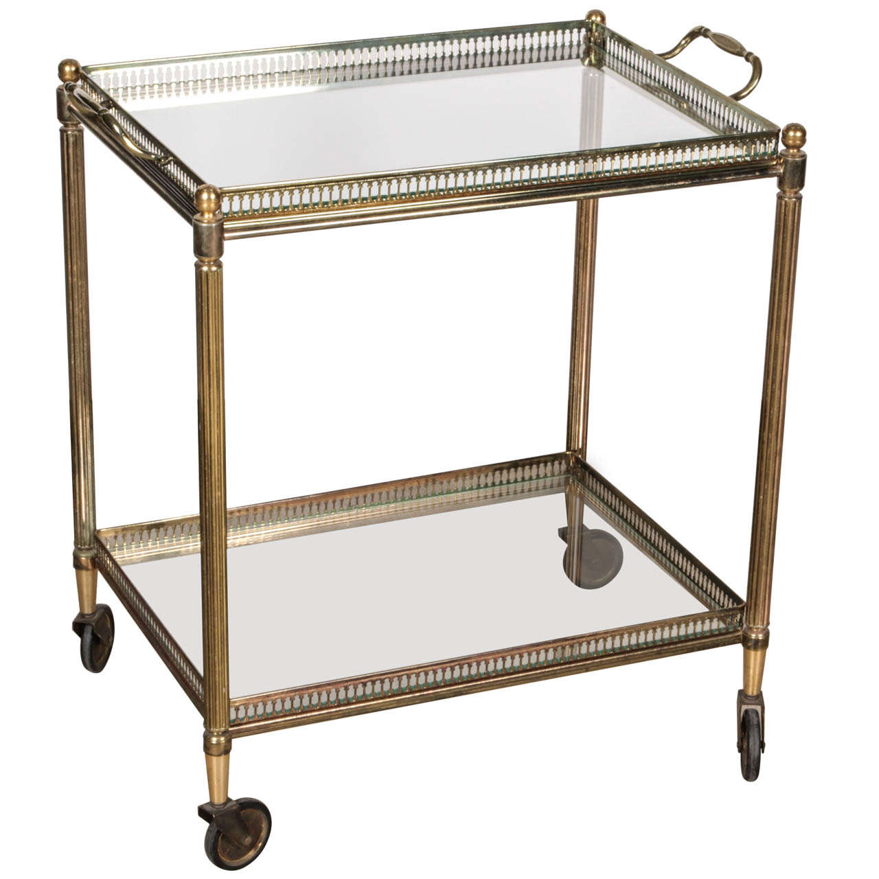 Classic Vintage French 55 Square Two Tier Brass Glass: French Brass Bar Cart With Removable Tray At 1stdibs