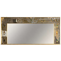 Large French 1940's Reverse-Painted Mirror with Chinoiserie Motifs