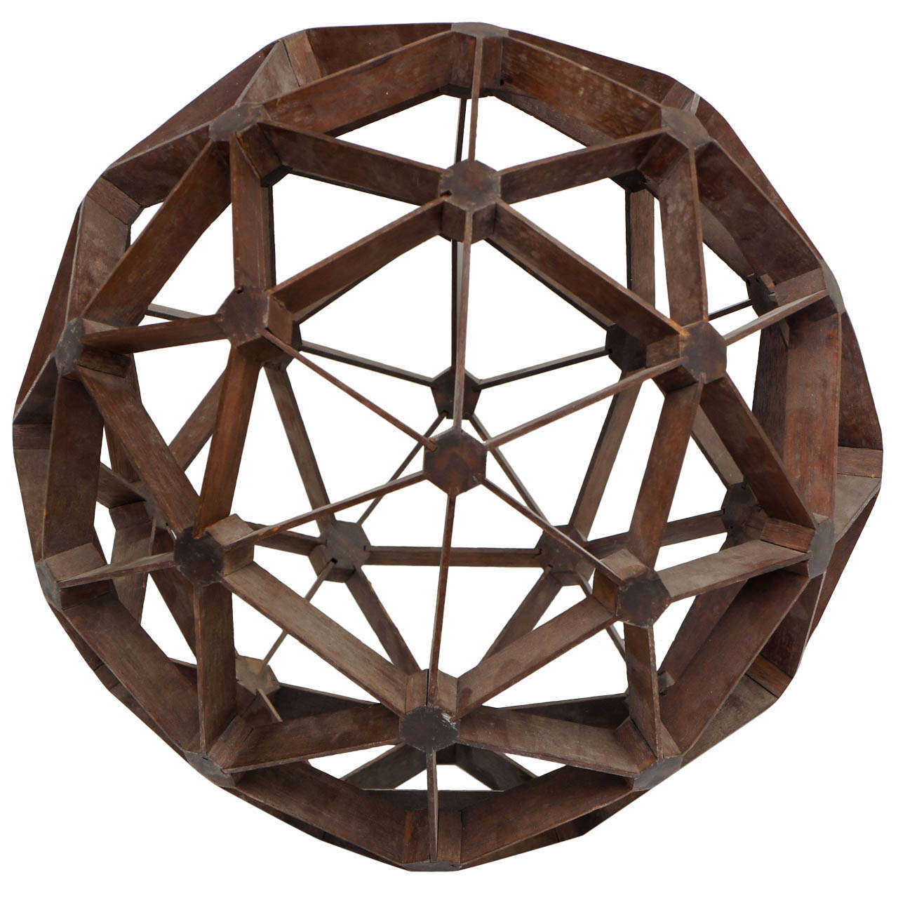 Hand Carved Mahogany Geodesic Sphere