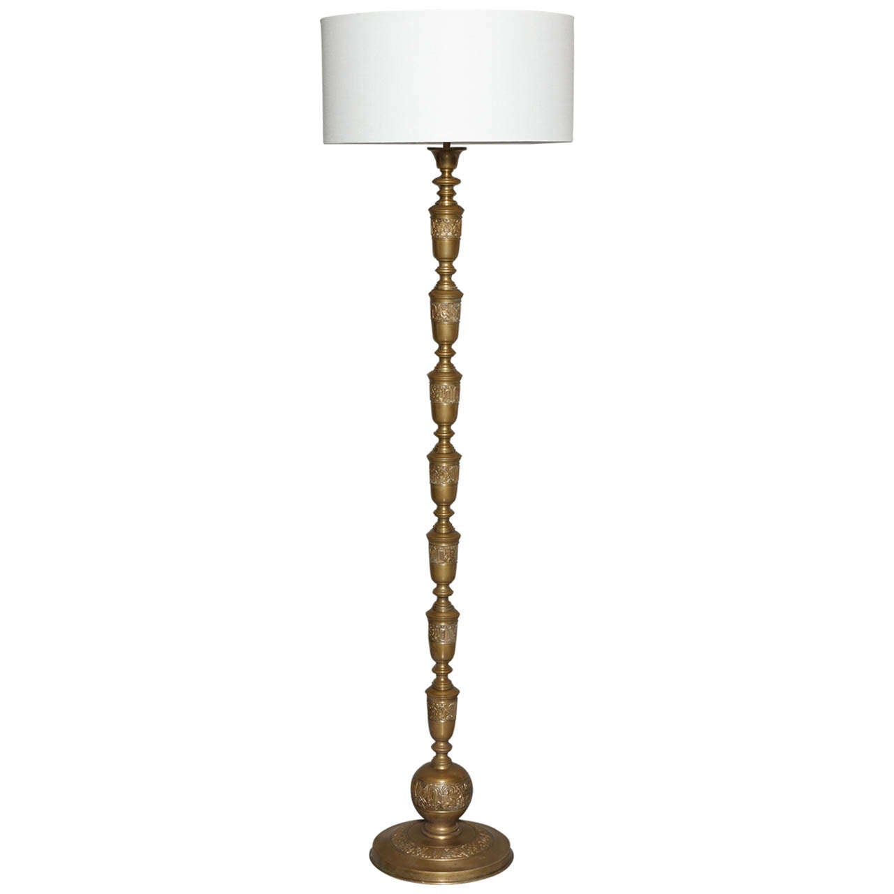 Embossed Antique Brass Floor Lamp At 1stdibs