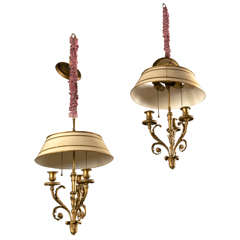 Pair of Finely Chased Bronze Doré Louis XV Style Chandeliers Three Candelabras