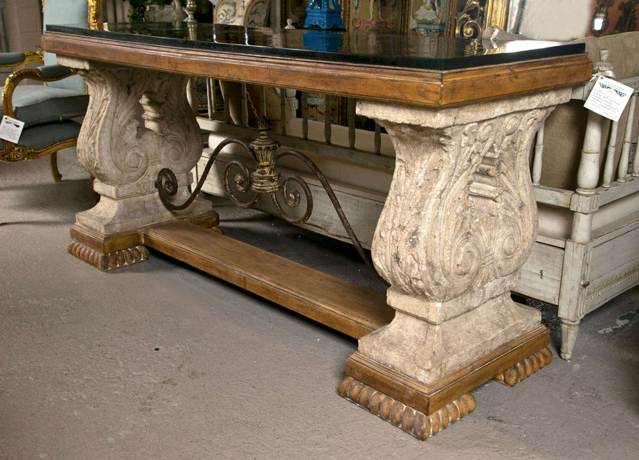 spanish colonial style stone top console table at 1stdibs. Black Bedroom Furniture Sets. Home Design Ideas