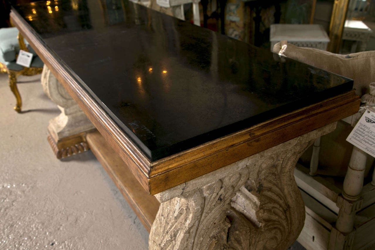 Spanish colonial style stone top console table image 5 - Console style colonial ...