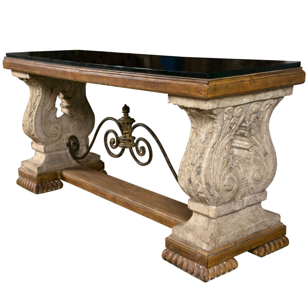 High Quality Spanish Colonial Style Stone Top Console Table 1