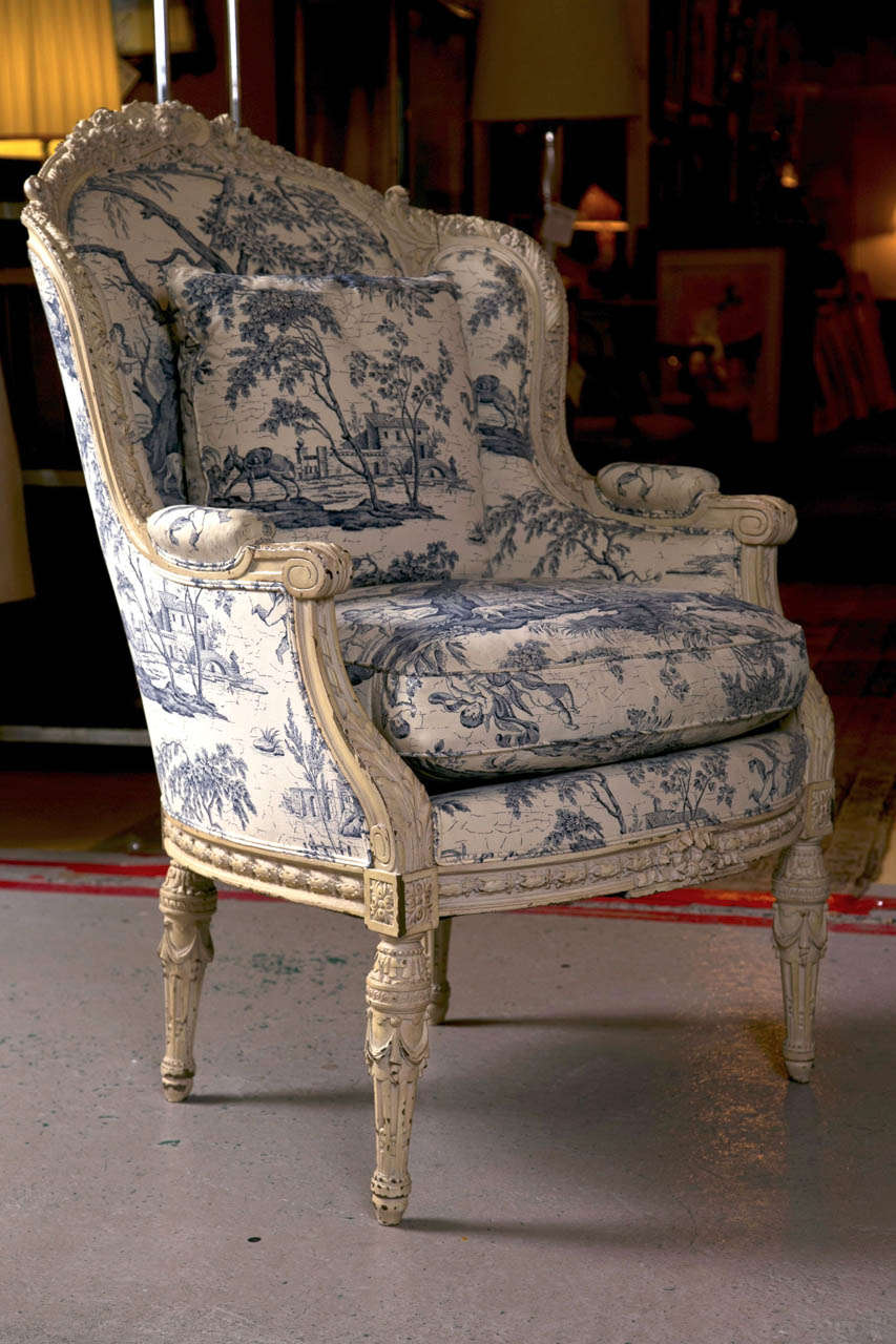 Antique bergere chair - 19th C Antique French Wingback Bergere Chair 2