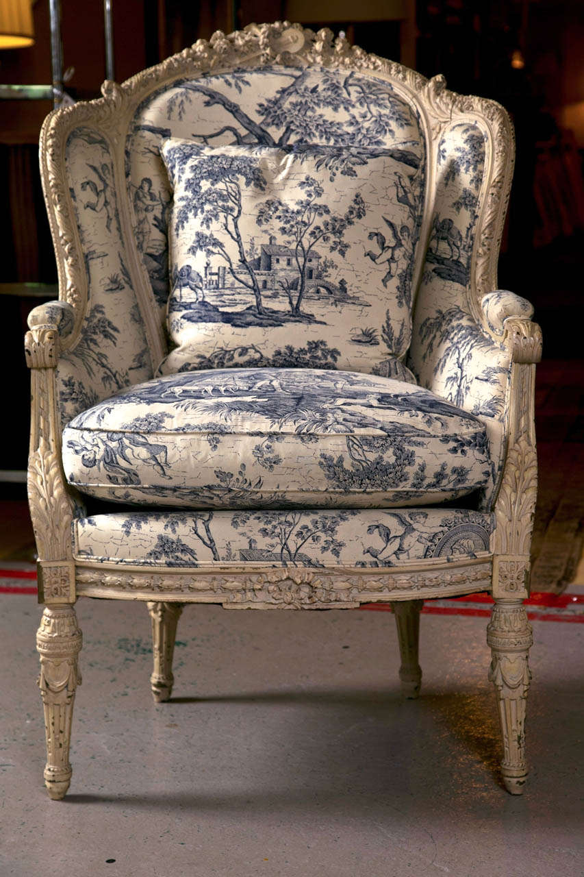 Louis XVI 19th C. Antique French Wingback Bergere Chair
