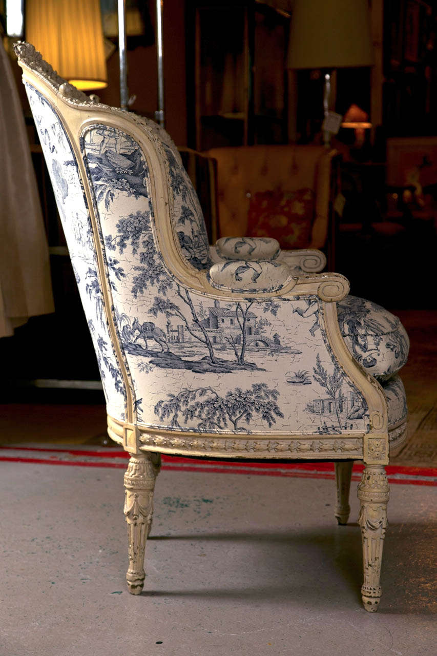 19th C. Antique French Wingback Bergere Chair 3