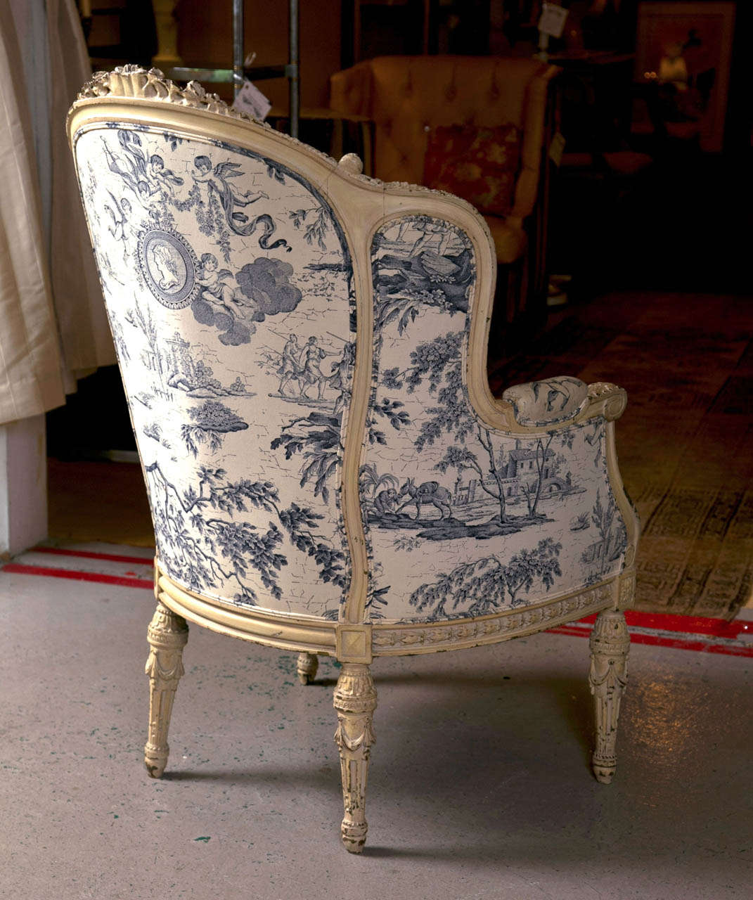 19th C. Antique French Wingback Bergere Chair 4