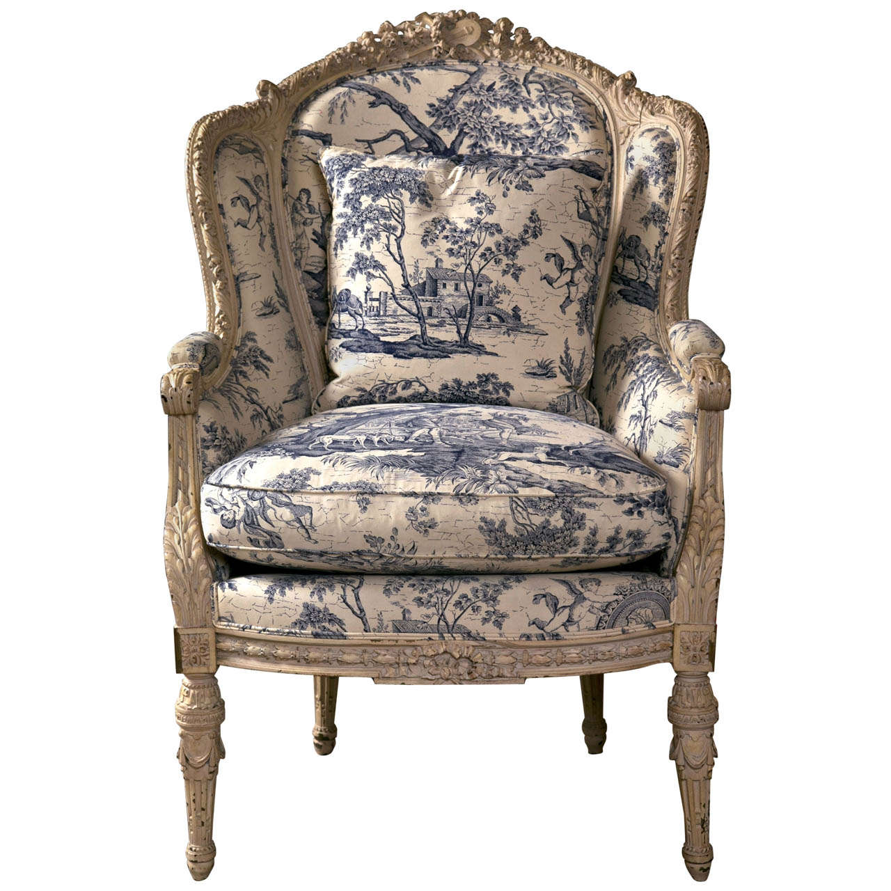 19th C. Antique French Wingback Bergere Chair For Sale - 19th C. Antique French Wingback Bergere Chair At 1stdibs