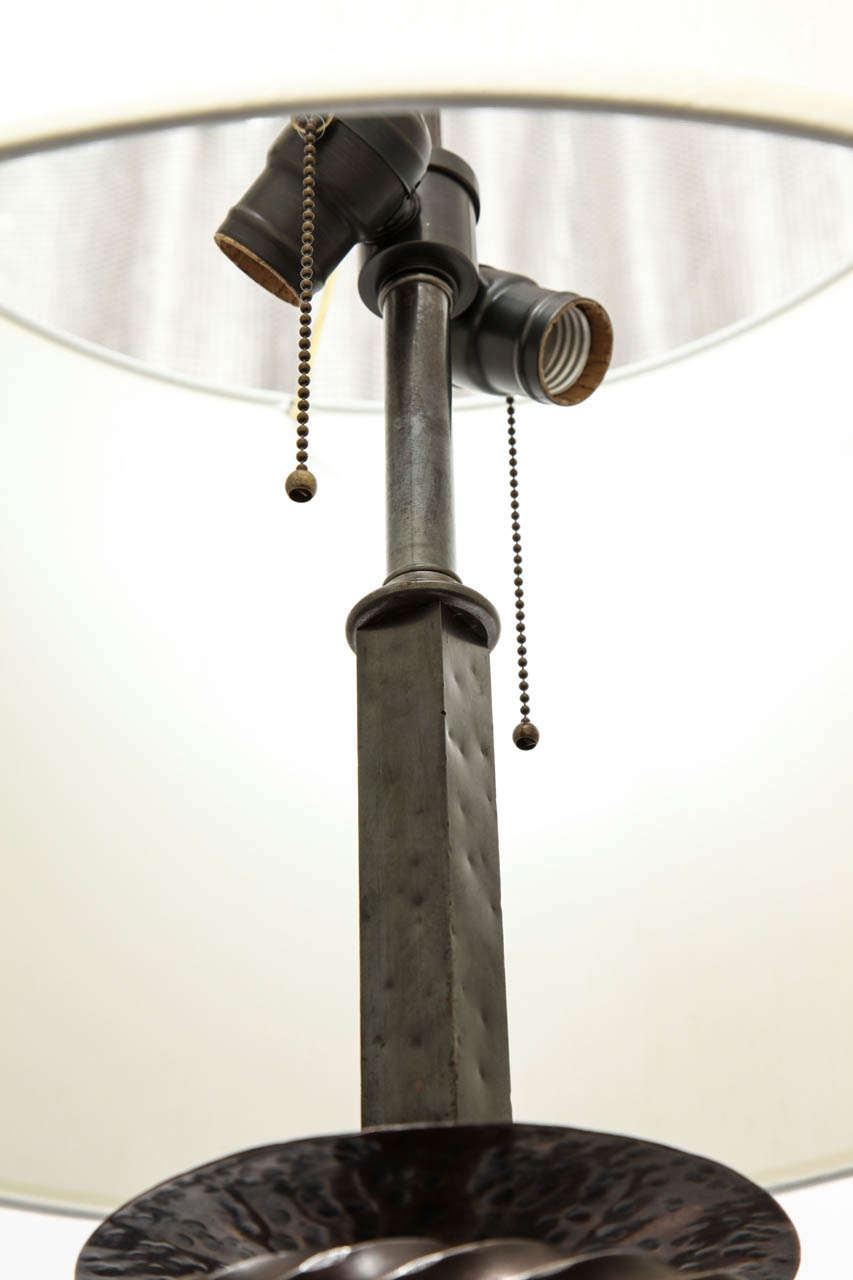 1920s Art Deco Patinated Bronze Floor Lamp For Sale 1