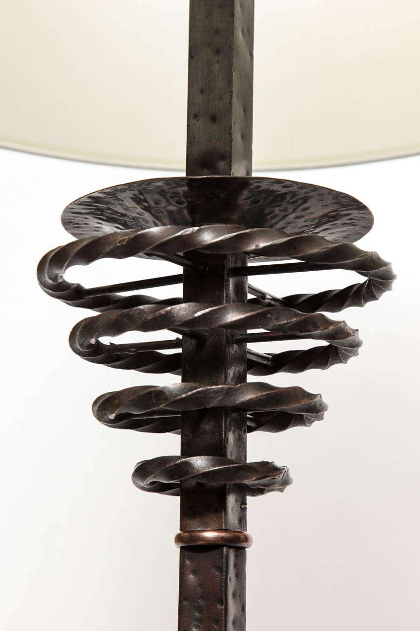 1920s Art Deco Patinated Bronze Floor Lamp For Sale 2