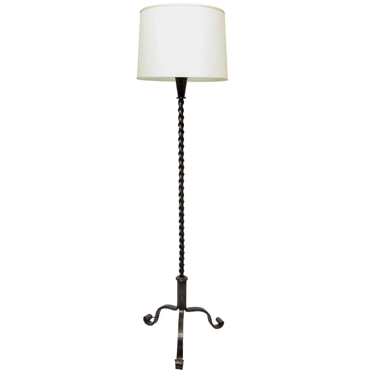 1940s French Art Moderne Wrought Iron Floor Lamp For Sale