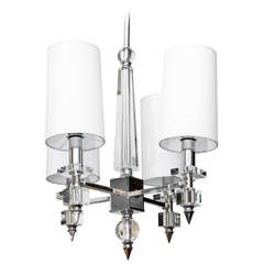 Classical Modern Glass Crystal and Nickel Ceiling Fixture