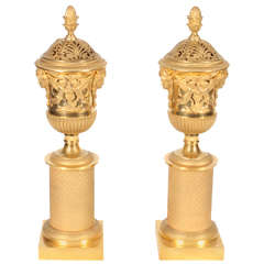 Pair of French Empire Neoclassical Gilt Bronze Cassolettes, for Russian Market