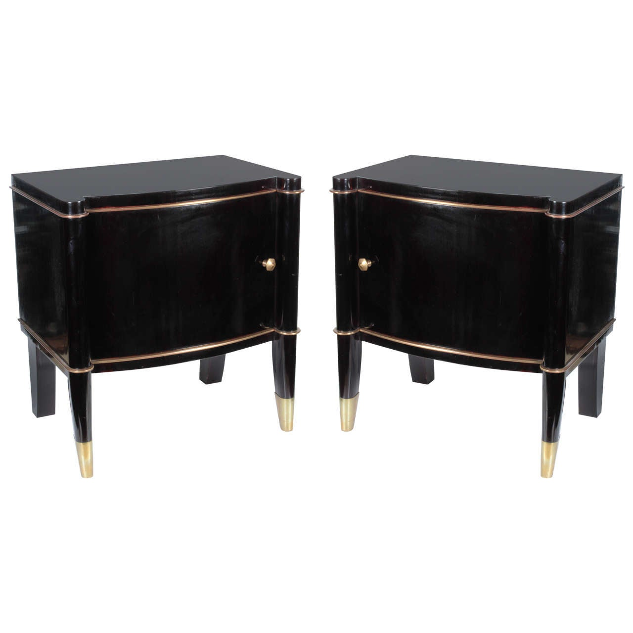 Pair of Antique French Art Deco Black Lacquer and Gilt Bronze Side Cabinets