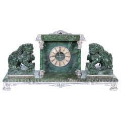 Silvered Bronze-Mounted Chinese Spinach Jade Portico Mantle Clock, Yamanaka & Co