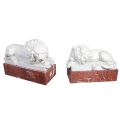 Pair of Reclining Carrara Marble Lions on Jasper Marble Plinths, after Canova
