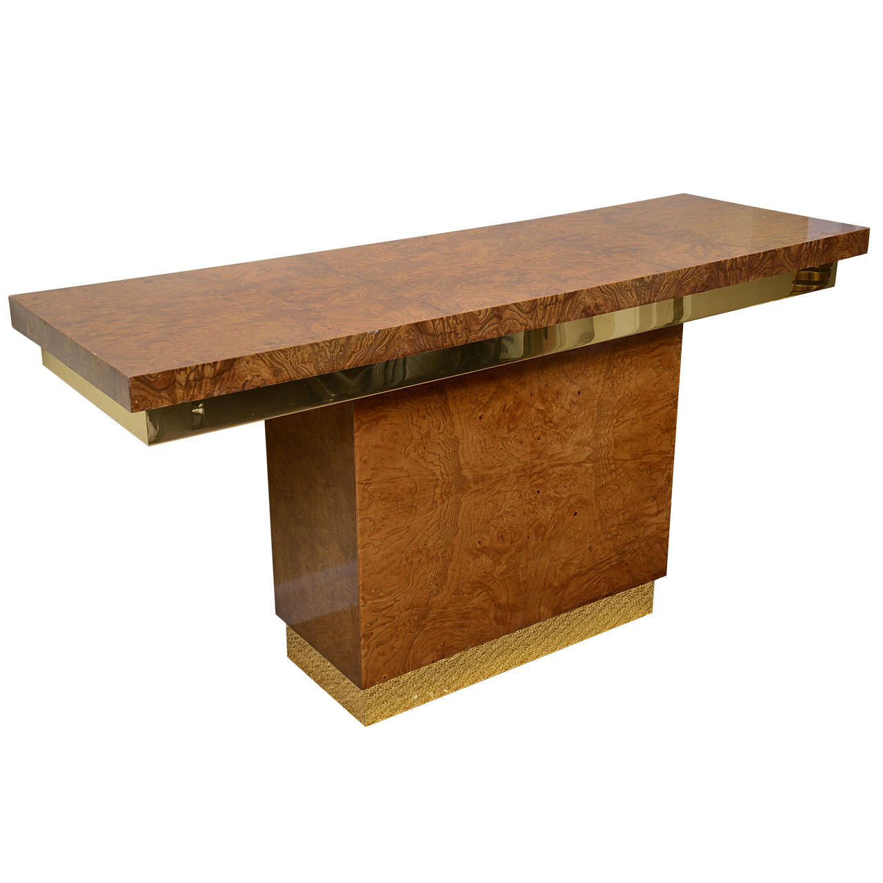 Burl wood console table at stdibs