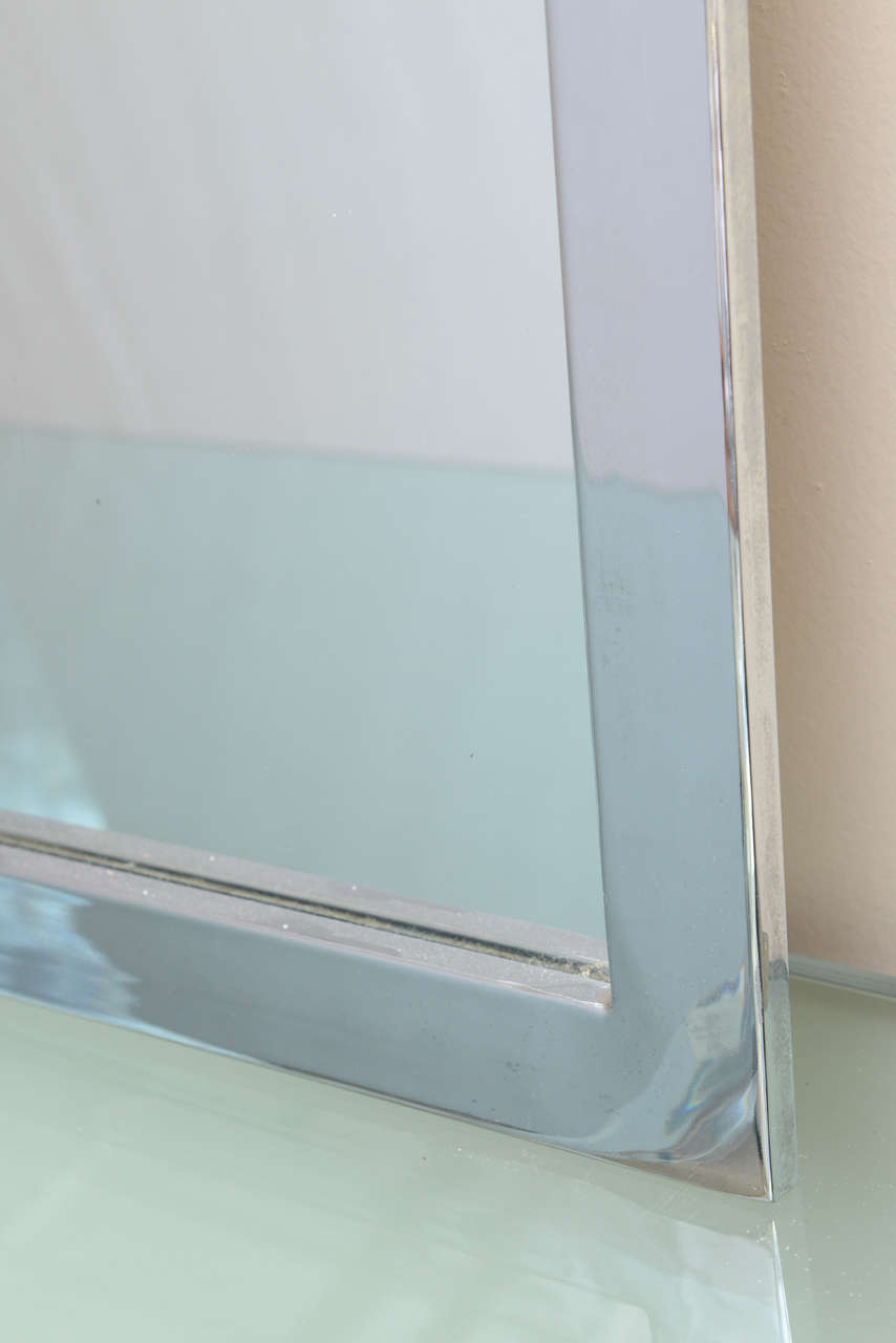 Plated Mid-Century Modern Chromed Wall Mirror For Sale