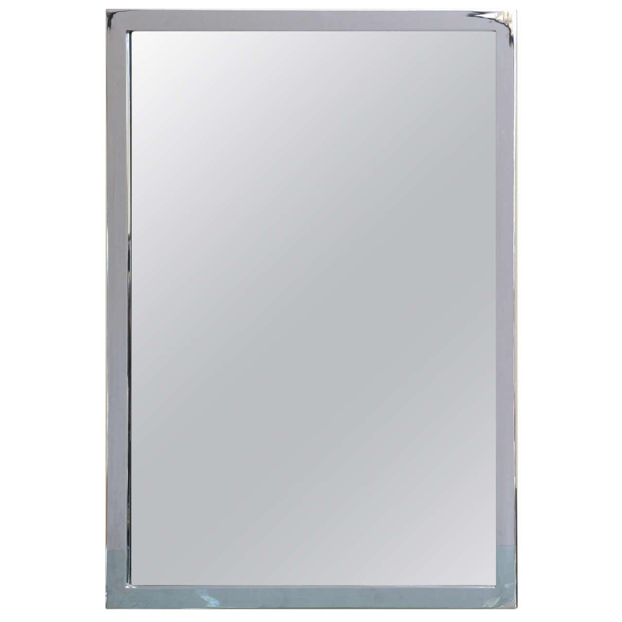 Mid-Century Modern Chromed Wall Mirror For Sale
