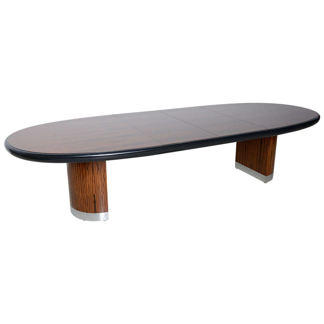 American Modern Zebrawood and Chrome Extension Dining Table by Vladimir Kagan