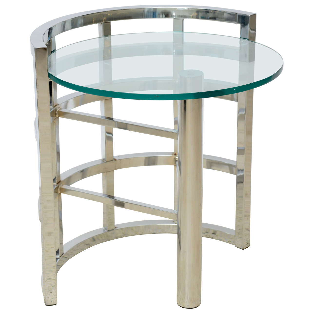 American Modern Polished Chrome and Glass Occasional Table