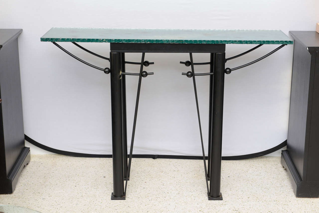 modern iron and mirrored glass console table style of jean michel wilmotte for sale at 1stdibs. Black Bedroom Furniture Sets. Home Design Ideas