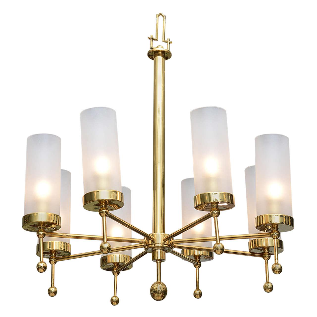 Italian Modern Brass and Glass Eight-Light Chandelier in the Manner of Stilnovo