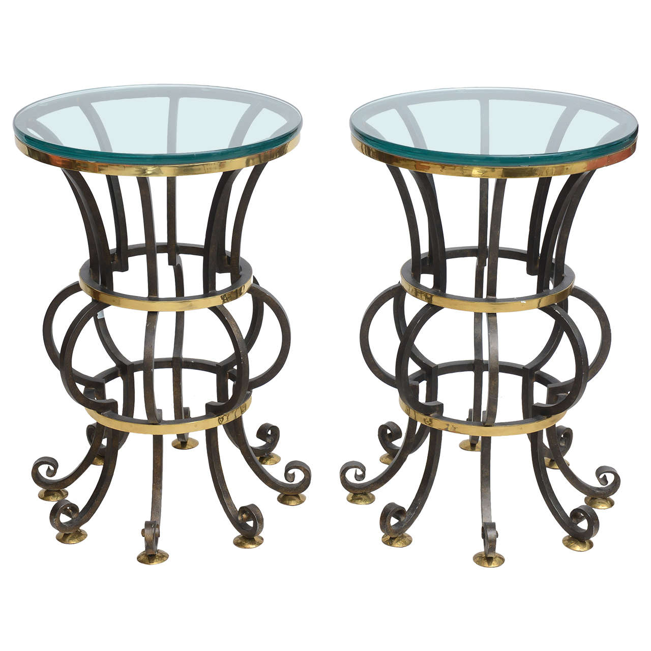 Pair of Iron and Brass with Glass Top Tables by Arturo Pani