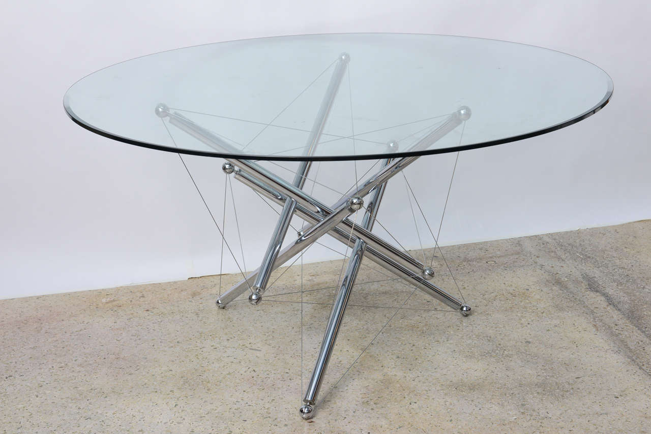 Italian Modern Chromed Steel And Glass Center Table, Theodore Waddell,  Cassina For Sale 3
