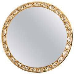 "Circular Lighting ""Diamond"" Mirror by Bakalowits, Austria, 1960s"