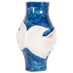 Blue White Vase with Bird Gigi, circa 1960s by Robert and Jean Cloutier