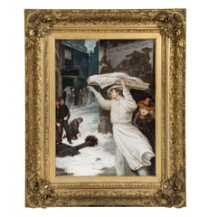 "19th Century Oil Painting by Augustus Edwin Mulready Entitled ""Black and White"""