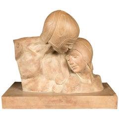 Period Deco Terra Cotta Signed Sculpture