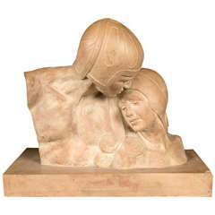 Period Deco Terra Cotta Signed Sculpture