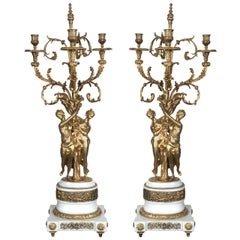 Pair of Three-Light Gilt Bronze and Marble Candelabras