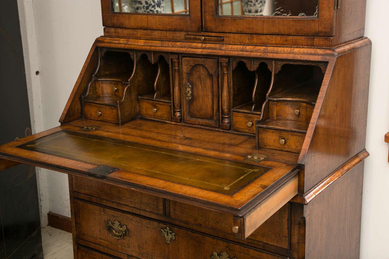 English Walnut Slant Front Bureau Bookcase / Secretary For Sale