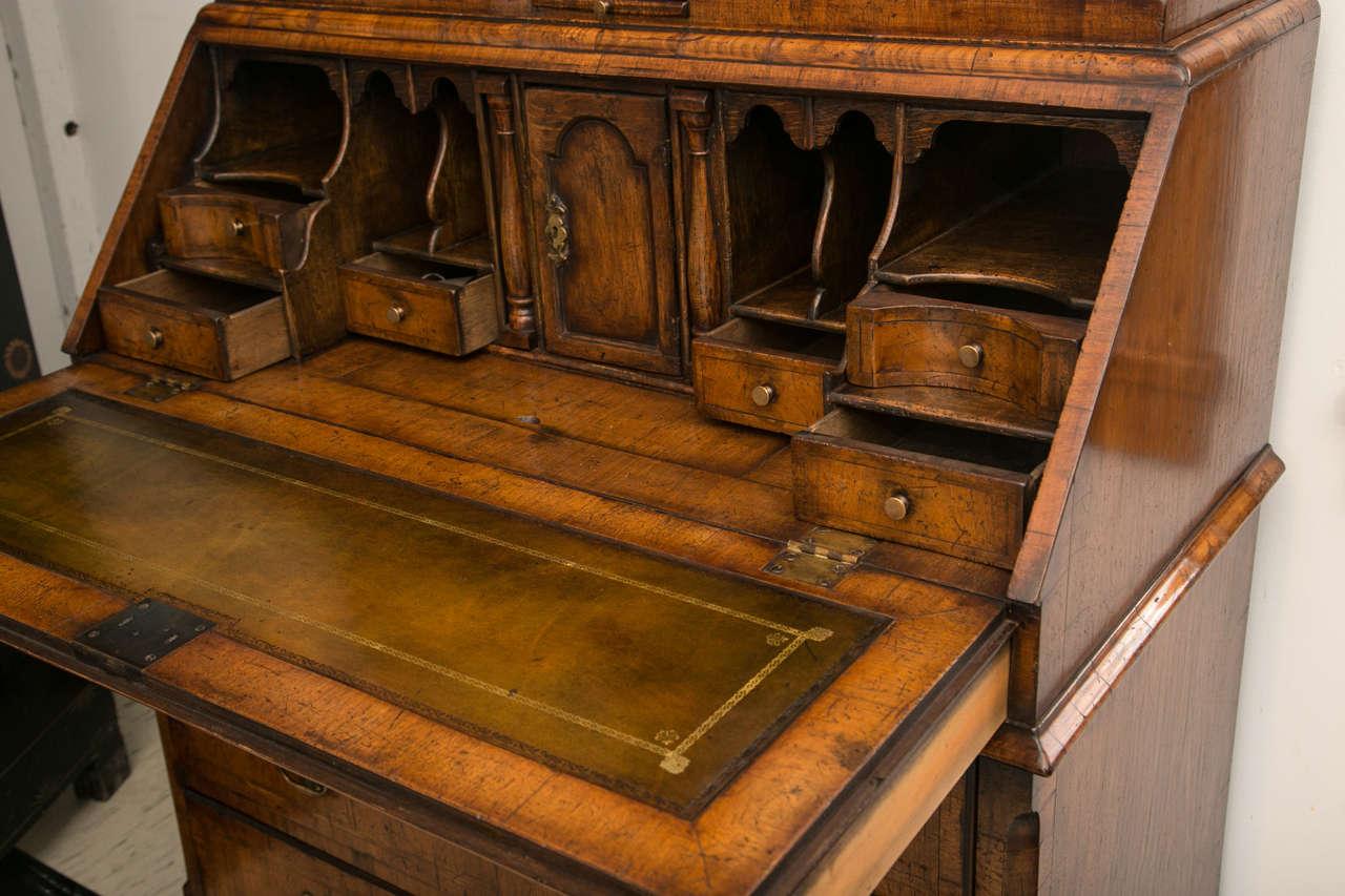 Veneer Walnut Slant Front Bureau Bookcase / Secretary For Sale