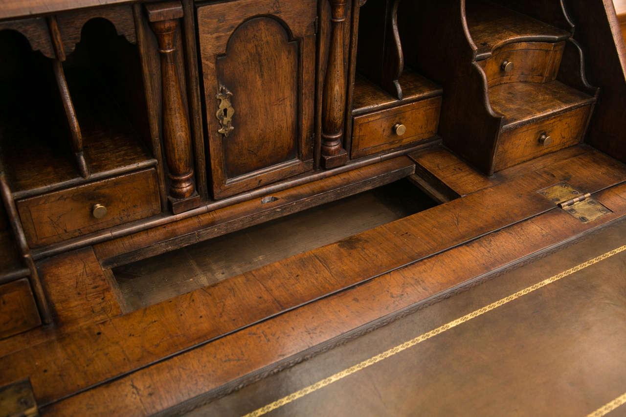 19th Century Walnut Slant Front Bureau Bookcase / Secretary For Sale