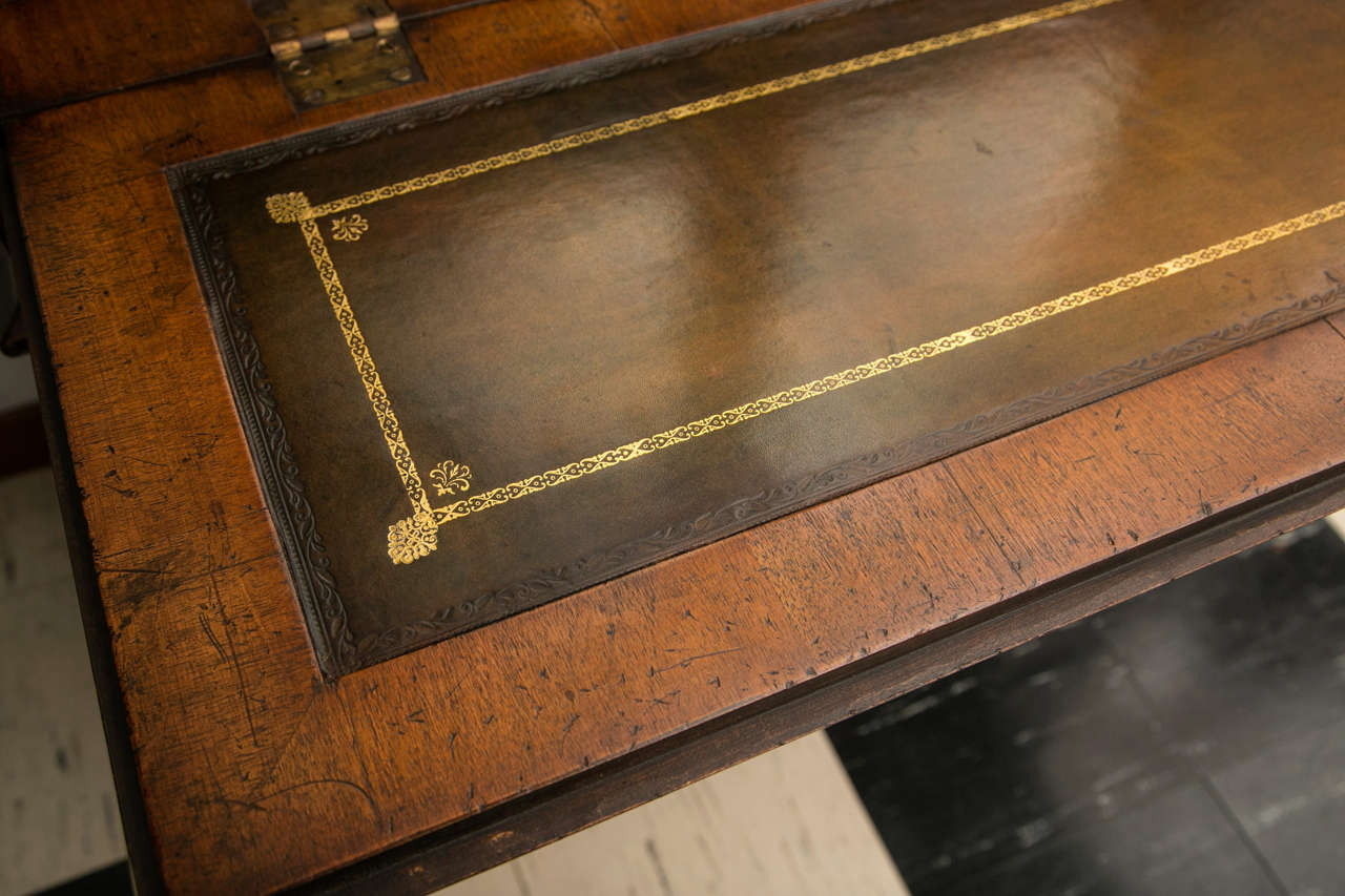 Oak Walnut Slant Front Bureau Bookcase / Secretary For Sale
