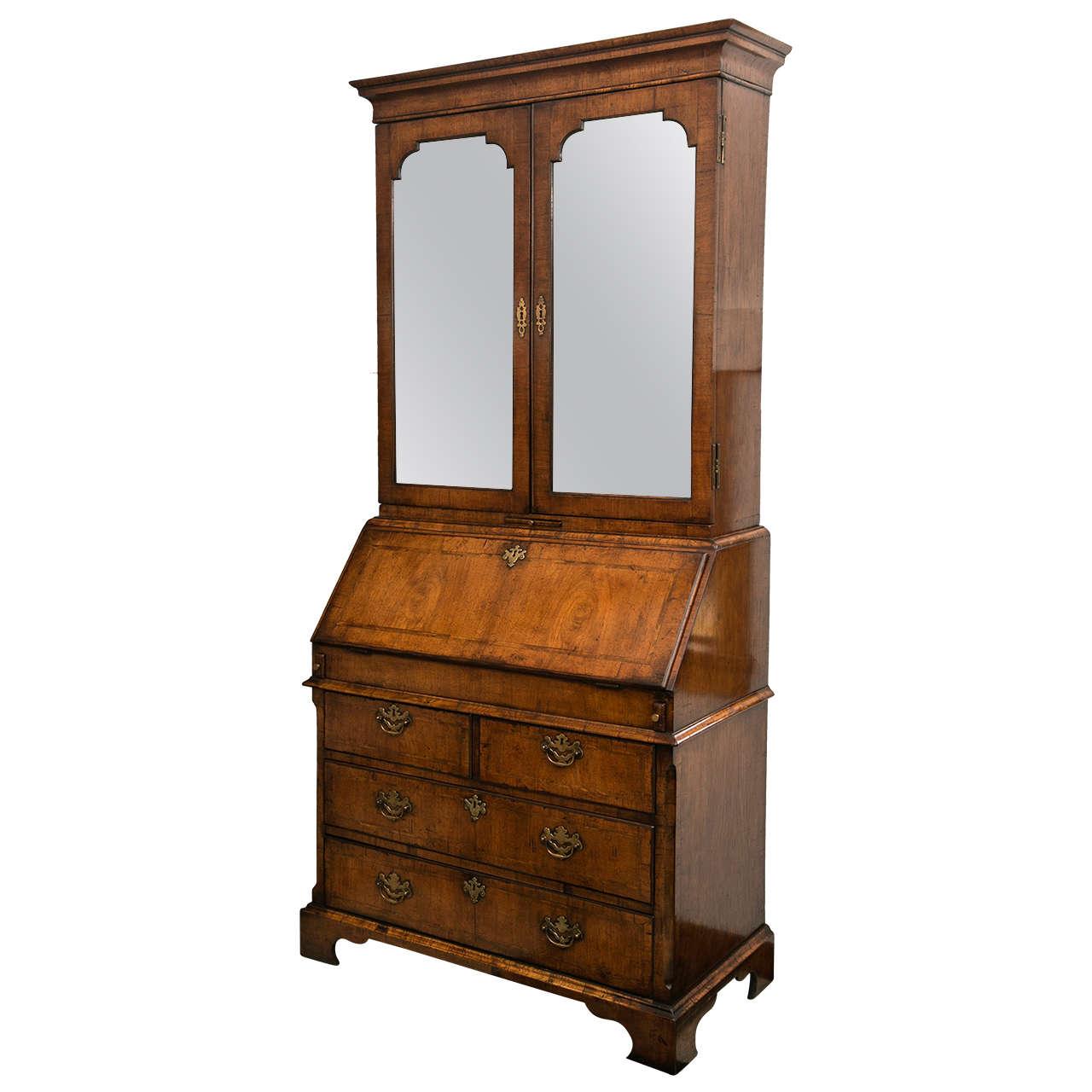 Walnut Slant Front Bureau Bookcase / Secretary For Sale