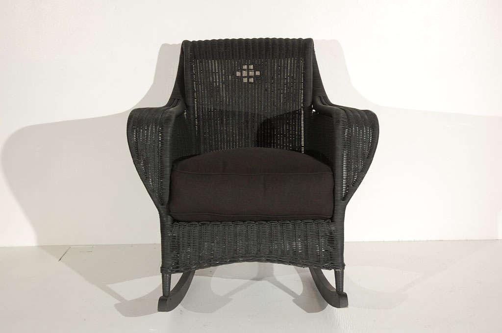 1930s Bar Harbor Black Painted Wicker Rocker W/linen Cushion image 4
