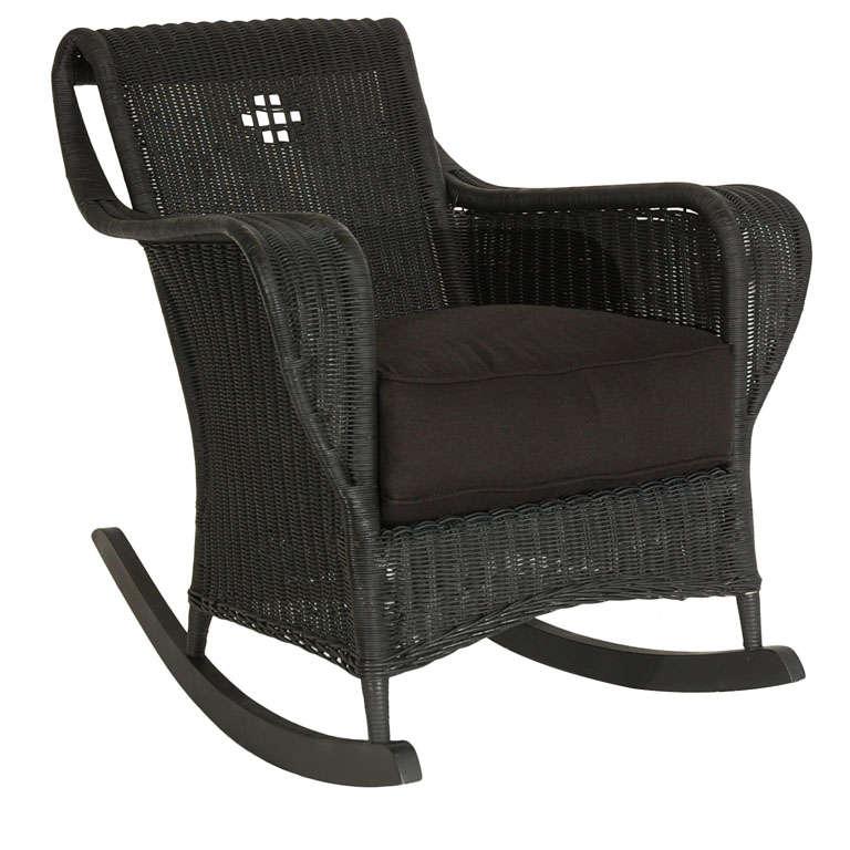 ... Bar Harbor Black Painted Wicker Rocker W/linen Cushion at 1stdibs