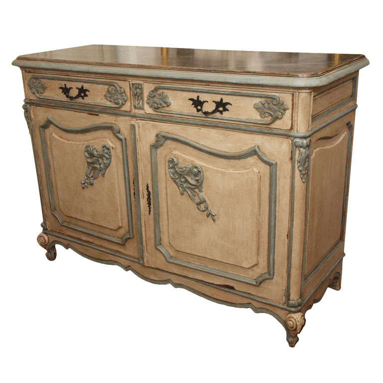 Extraordinary French Hand Carved Louis XV Painted Sideboard 1 - Extraordinary French Hand Carved Louis XV Painted Sideboard At 1stdibs