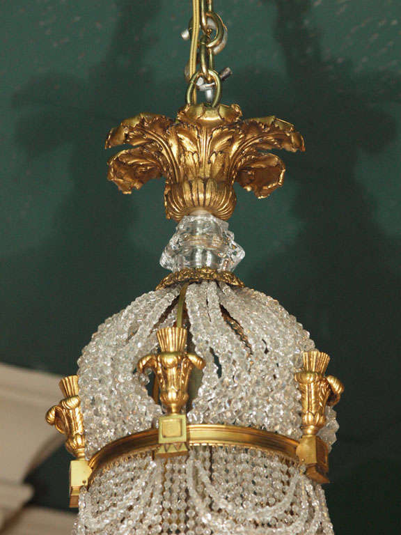 Antique french empire chandelier crystal and bronze at for Empire antiques new orleans
